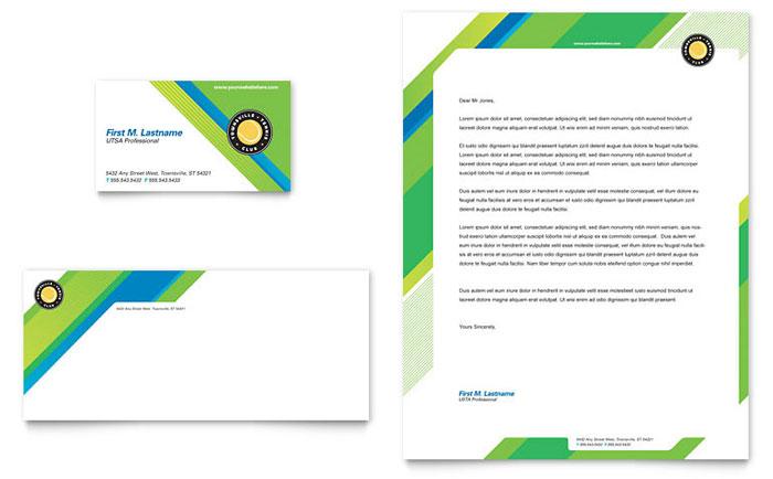 Tennis Club  Camp Business Card  Letterhead Template - Word