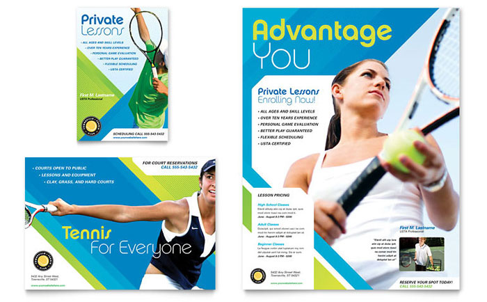 Tennis Club  Camp Flyer  Ad Template - Word  Publisher