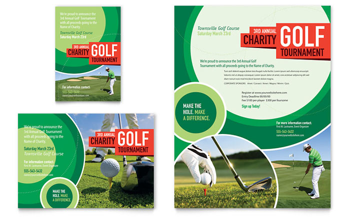 Golf Tournament Flyer  Ad Template - Word  Publisher
