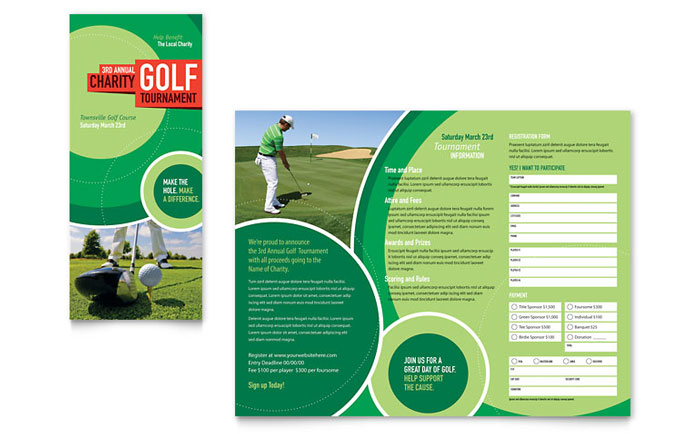 Golf Tournament Tri Fold Brochure Template - Word  Publisher