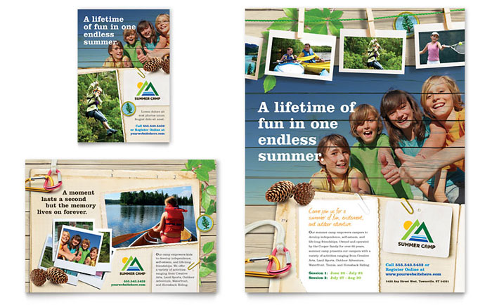 Kids Summer Camp Flyer  Ad Template - Word  Publisher