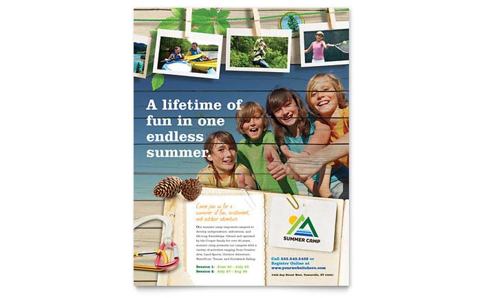 Kids Summer Camp Flyer Template - Word  Publisher