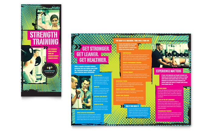 Strength Training Tri Fold Brochure Template - Word  Publisher - microsoft trifold template