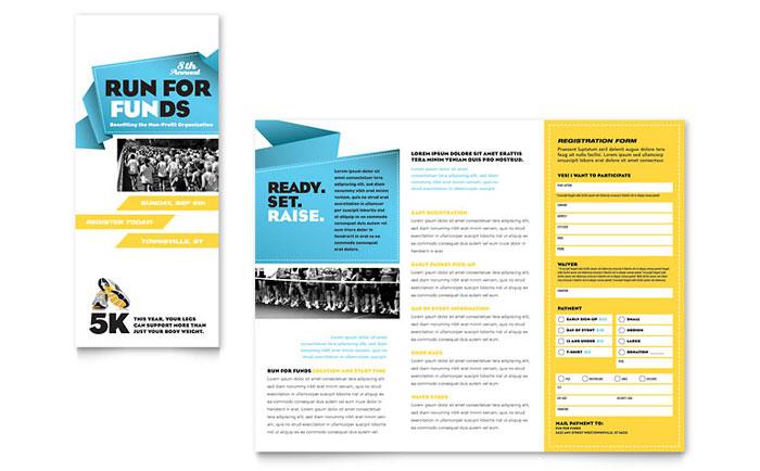 Charity Run Tri Fold Brochure Template - Word  Publisher