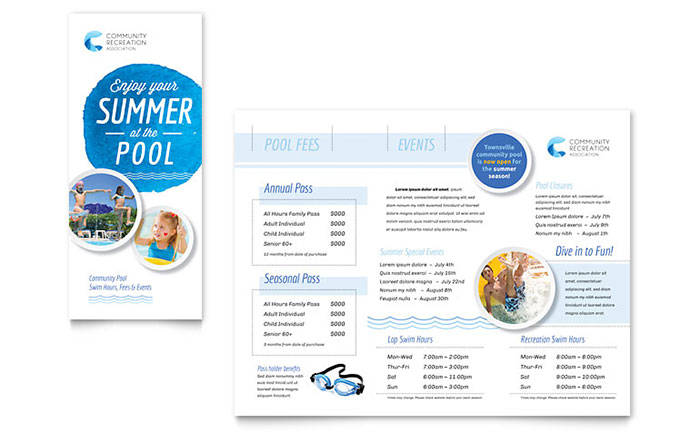 Community Swimming Pool Brochure Template - Word  Publisher