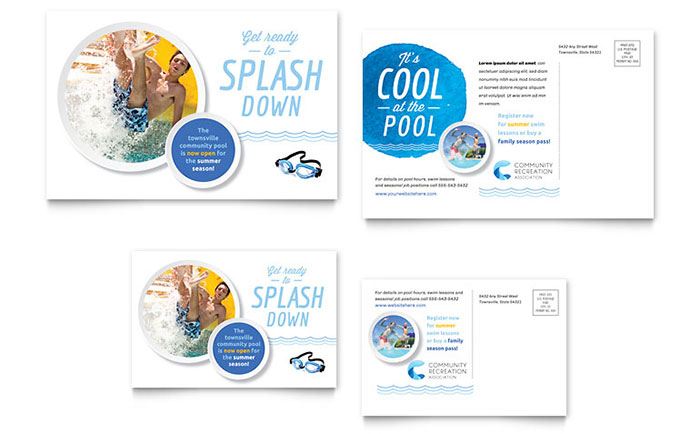 Community Swimming Pool Postcard Template - Word  Publisher