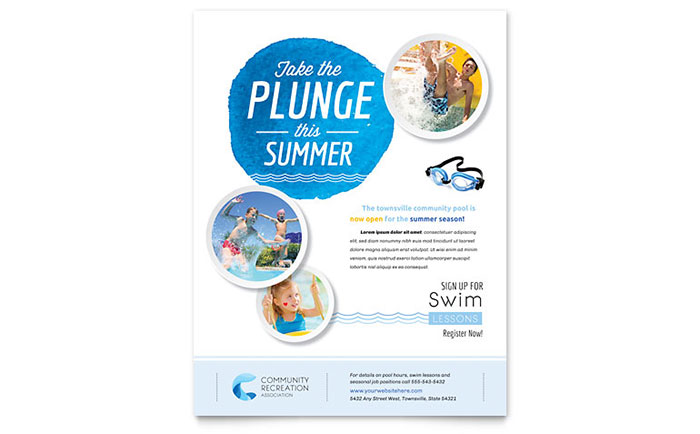 Community Swimming Pool Flyer Template - Word  Publisher
