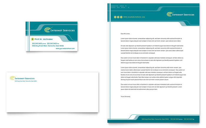 Internet Service Provider Business Card  Letterhead Template - Word