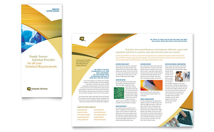 Computer Services \ Consulting Tri Fold Brochure Template - Word - microsoft word tri fold brochure