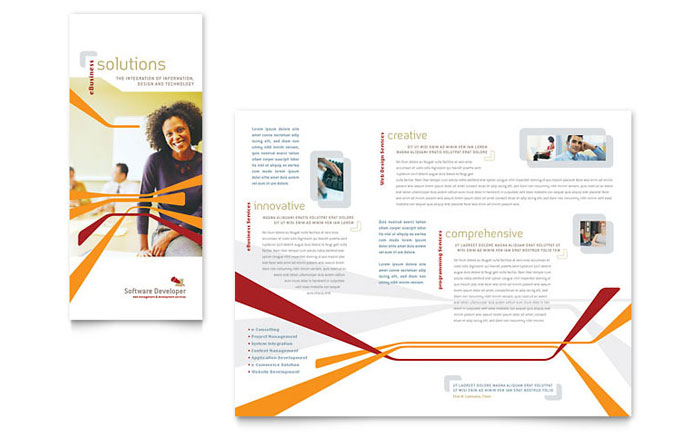 Software Developer Tri Fold Brochure Template - Word  Publisher