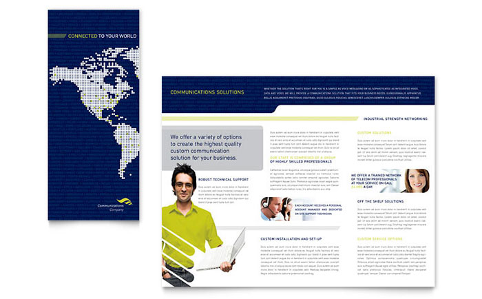 Global Communications Company Brochure Template - Word  Publisher