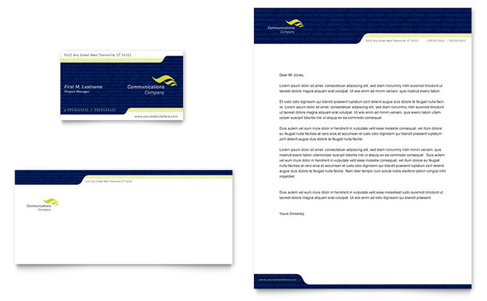 Global Communications Company Business Card  Letterhead Template