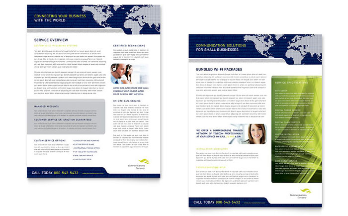 Global Communications Company Datasheet Template - Word  Publisher