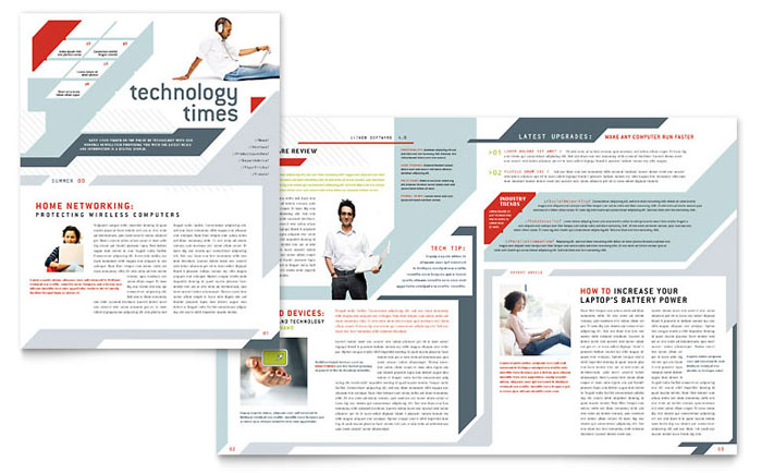 Computer Solutions Newsletter Template - Word  Publisher - corporate newsletter template