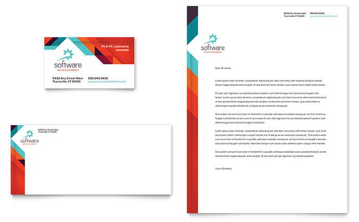 Application Software Developer Business Card  Letterhead Template