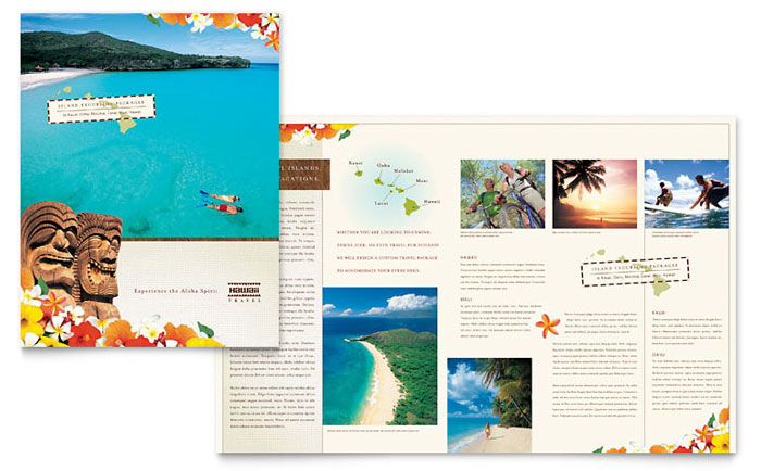 Hawaii Travel Vacation Brochure Template - Word  Publisher - Brochures On Word
