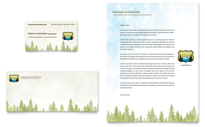 Nature Camping  Hiking Business Card  Letterhead Template - Word