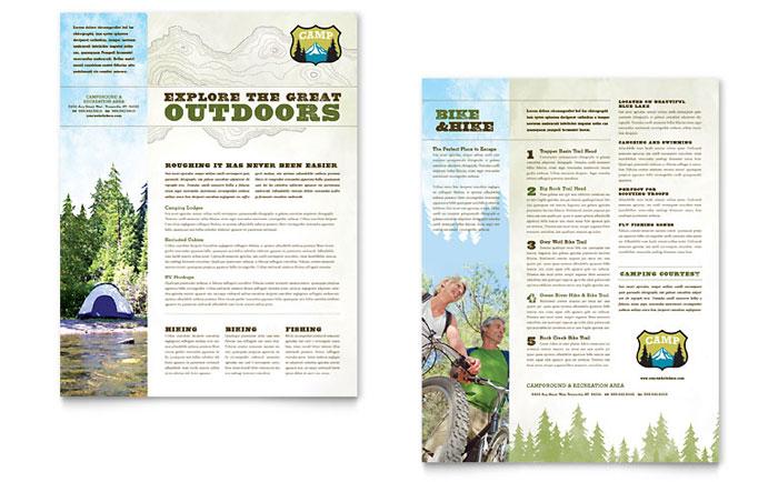 Nature Camping  Hiking Datasheet Template - Word  Publisher