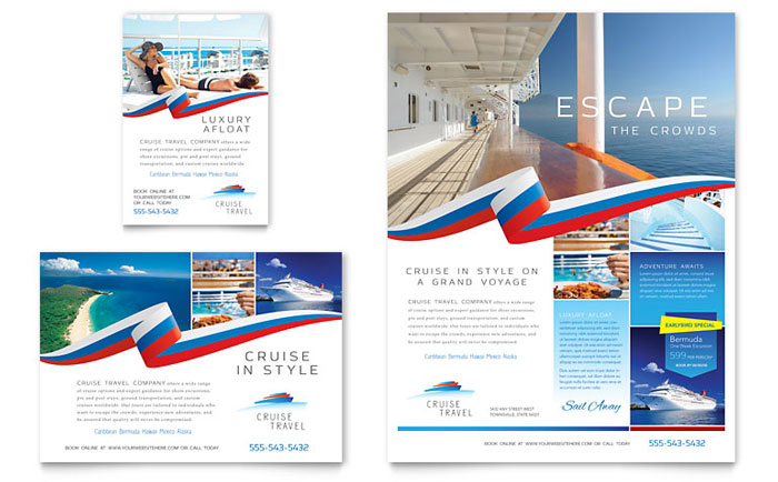 Cruise Travel Flyer \ Ad Template - Word \ Publisher - travel brochure templates