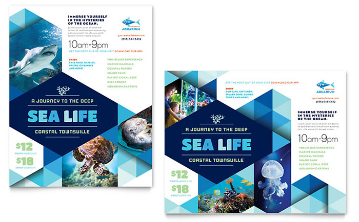Ocean Aquarium Poster Template - Word  Publisher - poster word template