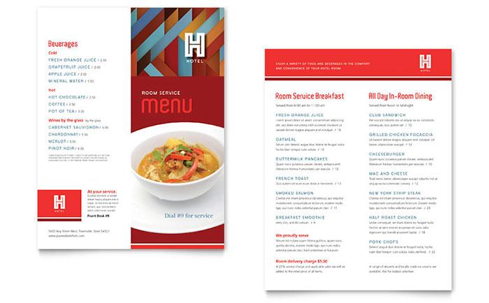 Hotel Menu Template - Word  Publisher