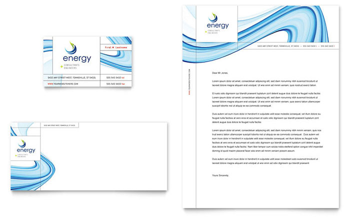 Renewable Energy Consulting Business Card  Letterhead Template - microsoft stationery template
