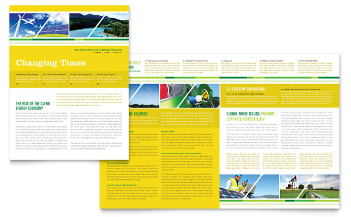 Environmental Conservation Newsletter Template - Word  Publisher