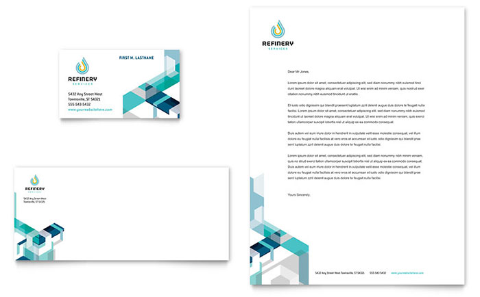 Oil  Gas Company Business Card  Letterhead Template - Word  Publisher