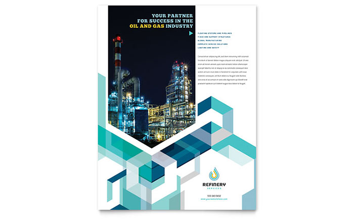 Oil  Gas Company Flyer Template - Word  Publisher - company profile template microsoft