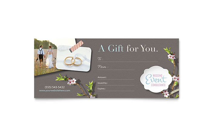 Wedding Planner Gift Certificate Template - Word  Publisher