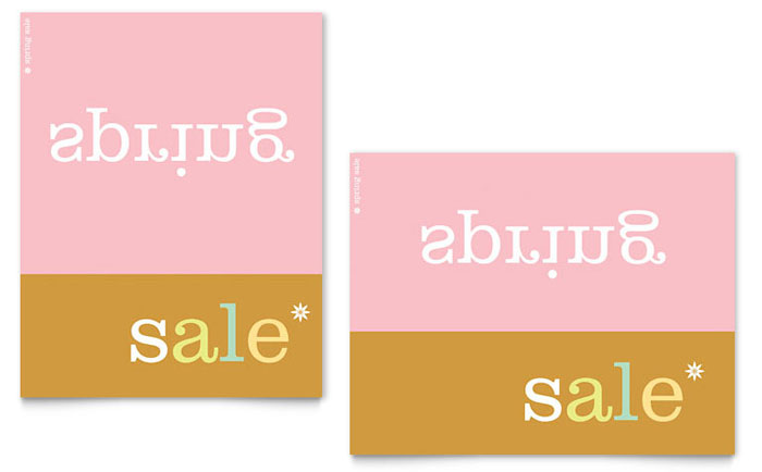 Inverse Upside Down Spring Sale Poster Template - Word  Publisher