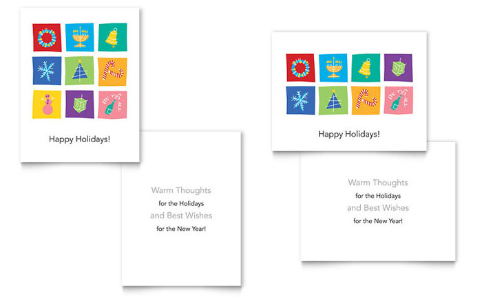 Holiday Icons Greeting Card Template - Word  Publisher