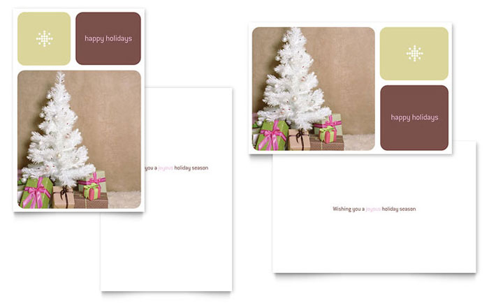 Contemporary Christmas Greeting Card Template - Word  Publisher