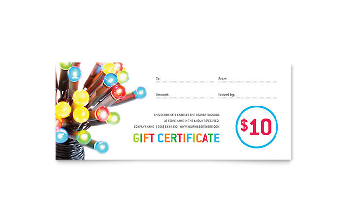 Christmas Lights Gift Certificate Template - Word  Publisher - Christmas Certificates Templates For Word