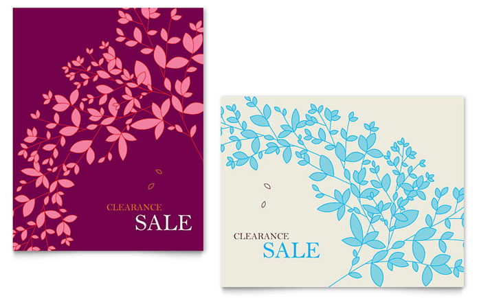 Spring Leaves Sale Poster Template - Word  Publisher