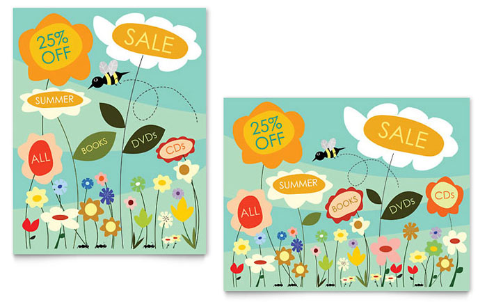 Spring  Summer Flowers Sale Poster Template - Word  Publisher