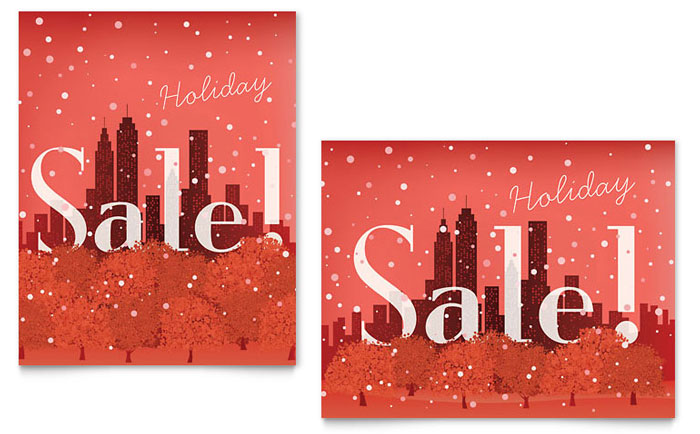 Cityscape Winter Holiday Sale Poster Template - Word  Publisher - for sale poster template