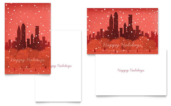Cityscape Winter Holiday Greeting Card Template - Word  Publisher