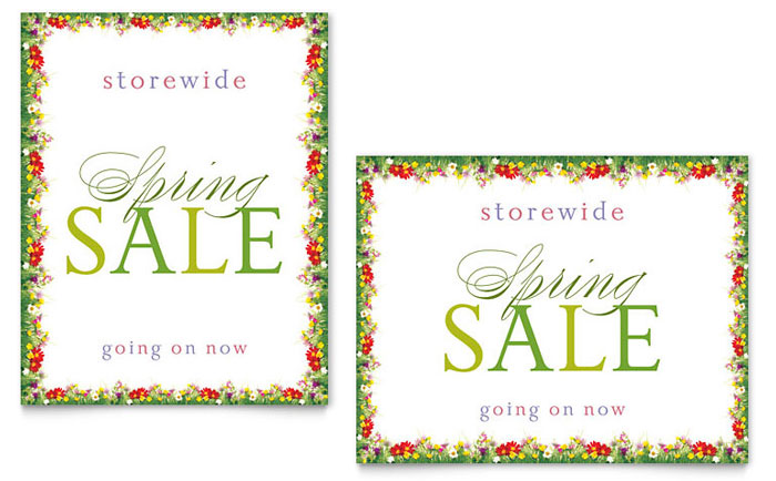 Floral Border Sale Poster Template - Word \ Publisher - free microsoft word border templates
