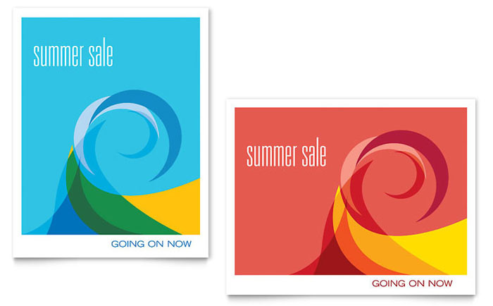 Summer Waves Sale Poster Template - Word  Publisher