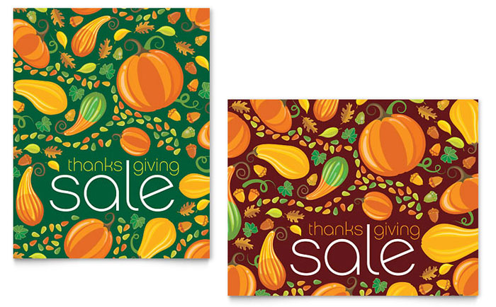 Thanksgiving Harvest Sale Poster Template - Word  Publisher