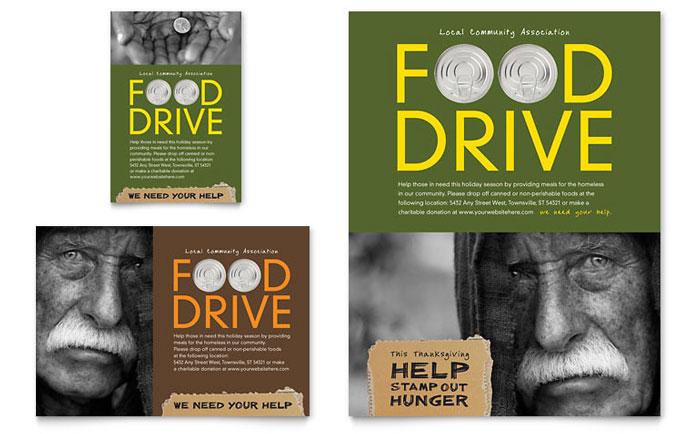 Holiday Food Drive Fundraiser Flyer  Ad Template - Word  Publisher