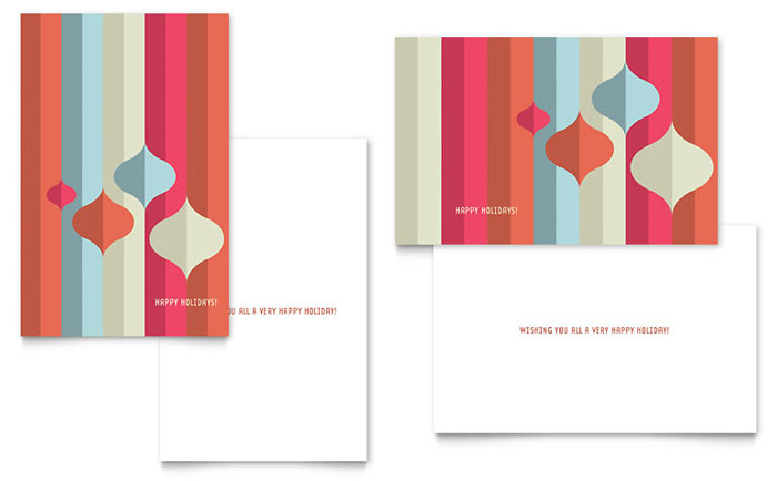 Modern Ornaments Greeting Card Template - Word \ Publisher - free birthday card template word