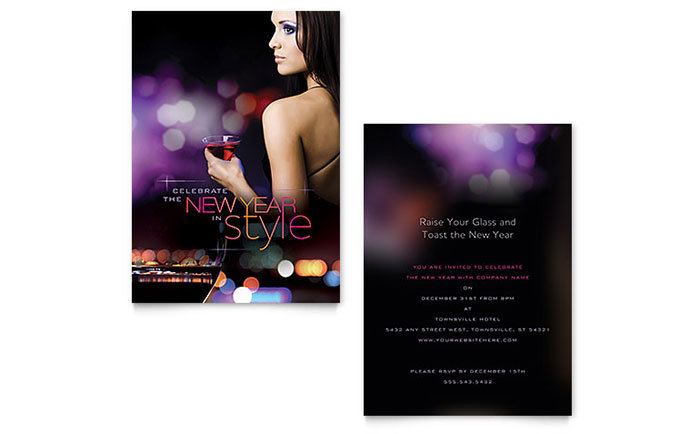 New Year Invitation Template - Word  Publisher