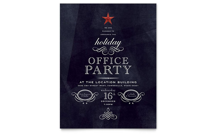 Office Holiday Party Flyer Template - Word  Publisher