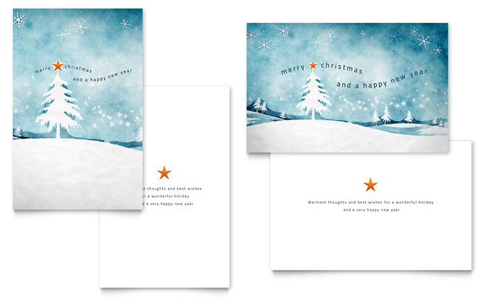 Winter Landscape Greeting Card Template - Word  Publisher