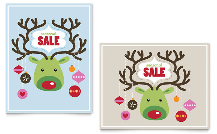 Reindeer Ornaments Sale Poster Template - Word  Publisher