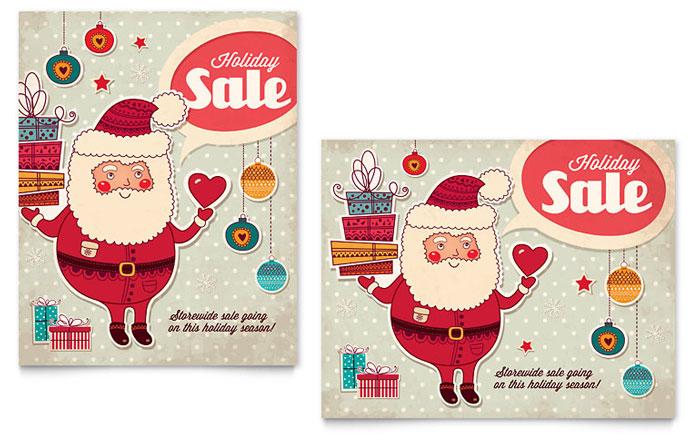 Retro Santa Sale Poster Template - Word  Publisher