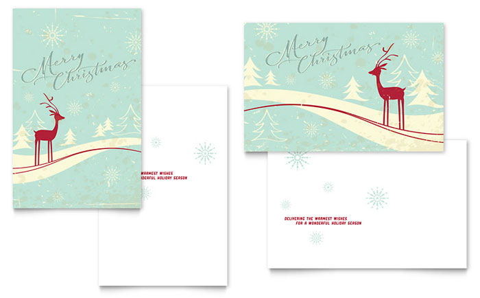 Antique Deer Greeting Card Template - Word  Publisher