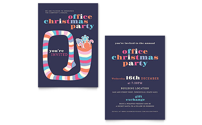Christmas Party Invitation Template - Word  Publisher